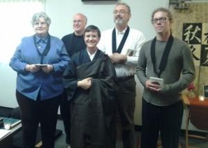 New Zen Buddhists - Lorna, Jim, Gathel and Brandon - with Domyo