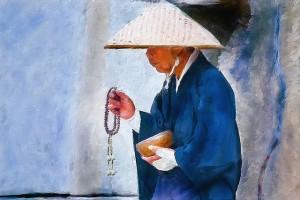 Japanese Monk Begging (courtesy of Randen Pederson, Flickr Commons)