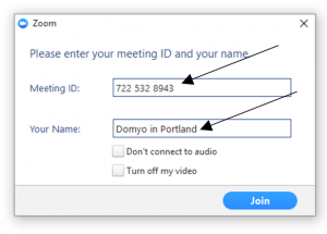 Zoom Computer App - Meeting ID and Name