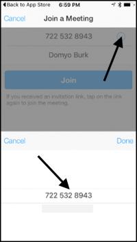Zoom iPhone App - Choose Meeting Number - Arrows